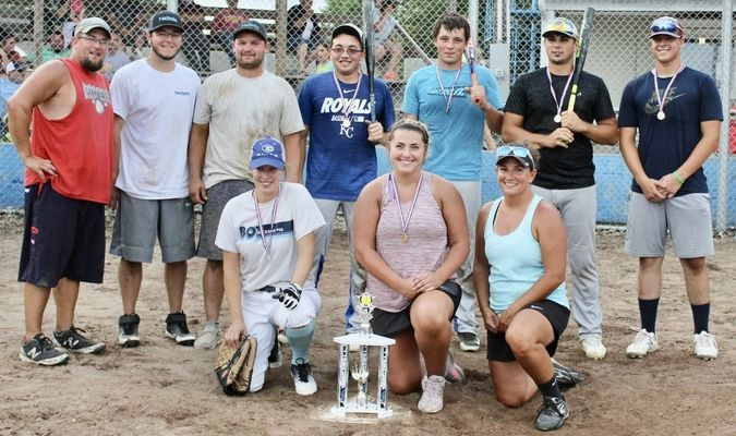 """After 4 games """"Past Our Prime"""" came out on top last Saturday at the Slow Pitch Softball Tournament held at the Jamesport City Park. The """"Misfits"""" came in 2nd after an all-day double elimination tournament. Eight teams participated in the tournament."""