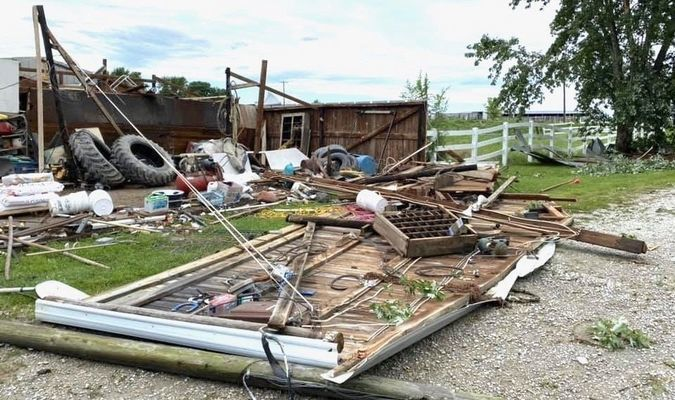 Damage to a building at the Dorothy Cox farm along Highway P.