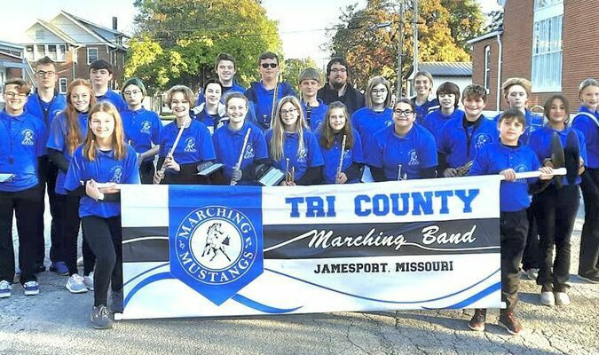 The Tri-County Marching Band participated in the Cameron March Fest Parade last Saturday. The band is directed by Wesley Enyeart, he said the kids did an amazing job despite not having marched in two years due to Covid precautions. Carrying the Marching Band banner are on the left; Addison Dodds and Evan Malott on the right. Band members are from left to right; Marshall Holtzclaw, Joe Lewis, Matthew Manning, Anissa Williams, Keaton Norman, Halli Courter, Addison Lewis, Chloe Ableidinger, Jerod Carter, Emily Brewer, Landon Dodds, Zoie Williams, Rylin Scott, Band Director Wesley Enyeart, Kera Boyle, Lonna Terhune, Emma Henderson, Liberty Justus, Madison Reeter, Carter Fewins, Julie Courter, Sylvia Tone-Pah-Hote, and Patience Robb.
