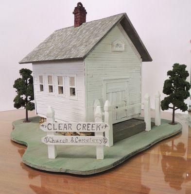 A replica of the Clear Creek Church will be sold at auction at the annual Jamesport Fire and Rescue Appreciation Night on October 16. The auction will be held at the Event Center. The house is handmade by Peggy Sperry. Mrs. Sperry is well known for her talent in construction replicas of many landmarks in the area.
