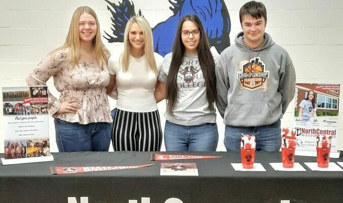 Four TC seniors have decided to pursue further education next fall at North Central Missouri College. Tri-County would like to congratulate, from left to right, Rikki Cook, Lexi Wyant, Trystn Dunks and Jaxson Waterbury. We wish you much success in your next adventure!