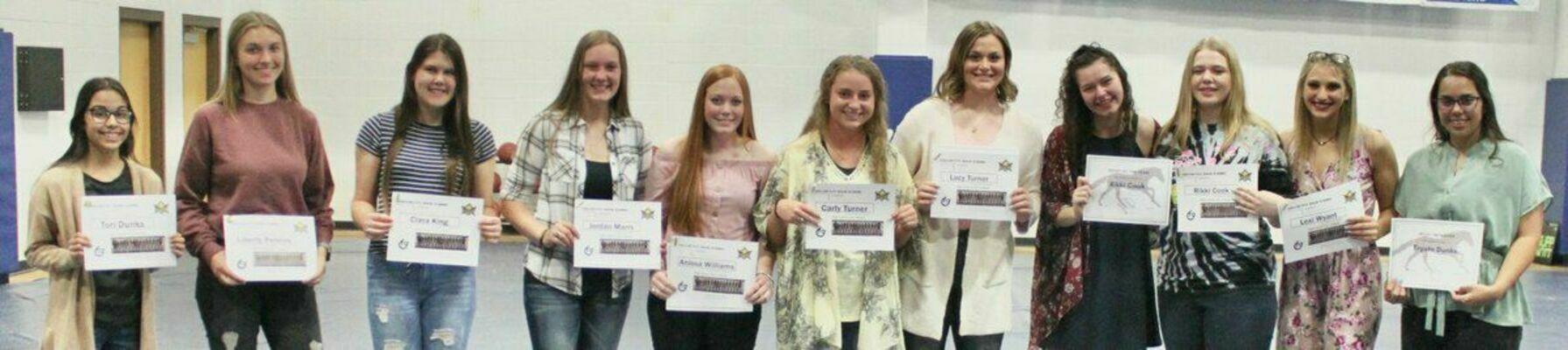 Varsity Softball Team - from left; Tori Dunks, Liberty Perkins, Ciara King, Jordan Marrs, Anissa Williams, Carly Turner, Lucy Turner, Destiny Gutshall, Rikki Cook, Lexi Wyant and Trystn Dunks.