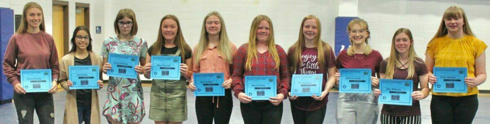 Junior High Softball - from left; Liberty Perkins, Tori Dunks, Lonna Terhune, Allee Prescott, Dani Critten, Alexis Neeley, Tori Dustman, Addison Lewis, Zoie Williams and Callie Skinner.