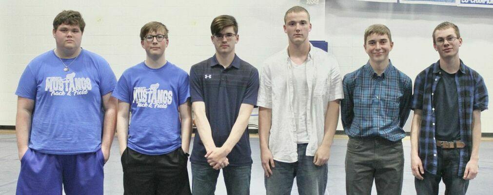 Varsity Boys Track - from left; Blake Rainey, Zander Smith, William Terhune, Skylar Fields, Cale Turner and Matthew Manning.