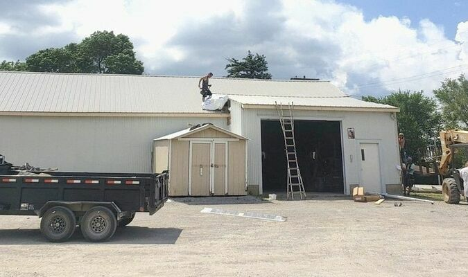Shown above is the old bus barn at Tri-County School. The building is getting new siding and roof. It has been used for storage since a new bus barn was built in 2018.