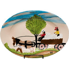 Clementine Hunter Cotton Wagon Oval Platter (CH-2200)