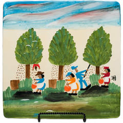 Clementine Hunter Pecan Picking Square Platter
