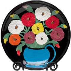 Clementine Hunter Zinnias Looking At You Platter (CH-2700)