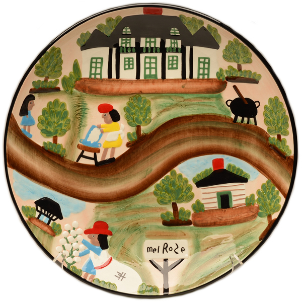 Clementine Hunter A Day At Melrose Plantation Round Ceramic Bowl (CH-3100)