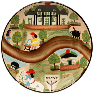 Clementine Hunter A Day At Melrose Plantation Round Ceramic Platter