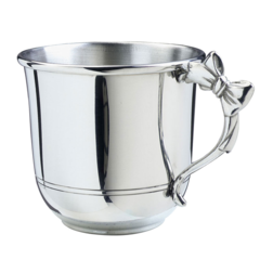 Engraved Pewter Bow Handled Baby Cup (SCBC-BOW)