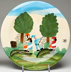 Clementine Hunter Pecan Picking Dinner Plate (CH-4200)