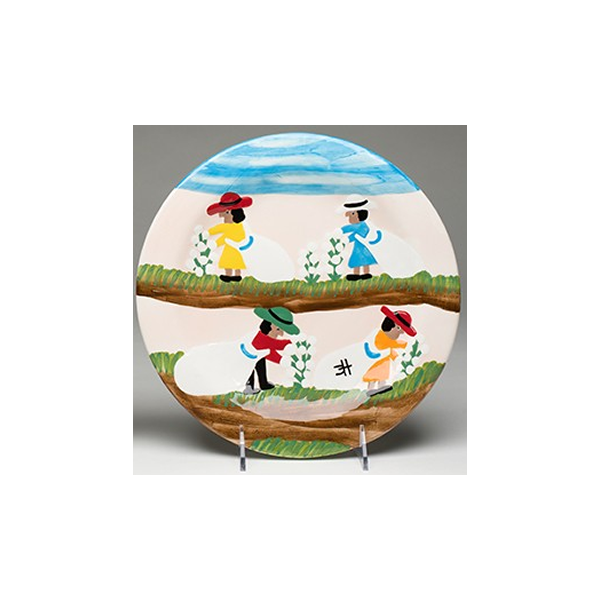 Clementine Hunter Cotton Picking Dinner Plate (CH-4100)