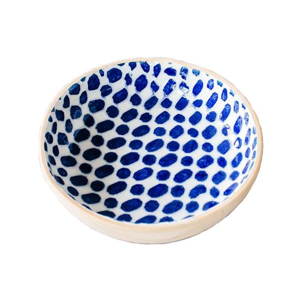"Terrafirma Ceramics > Cobalt > 12"" Dot Bowl"