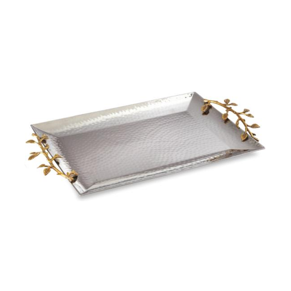 Leeber Limited > Gold Vine Rect Handled Tray