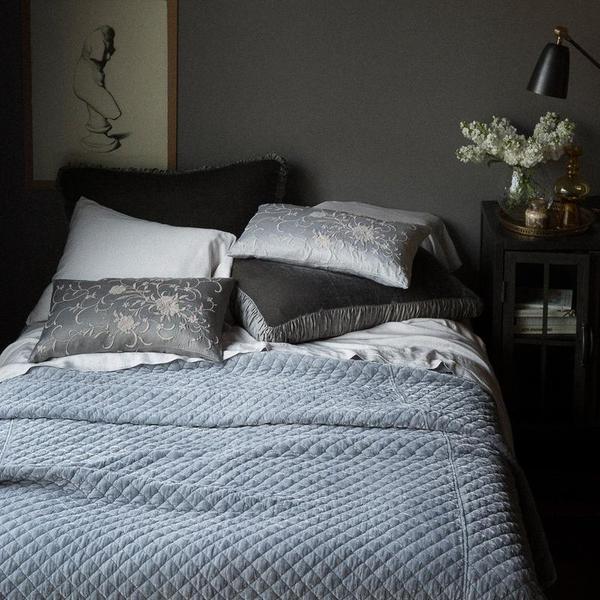 Bella Notte Linens Silk Velvet Quilted Coverlet - King or Queen
