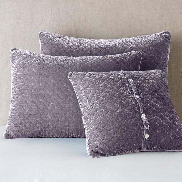 Bella Notte Linens Silk Velvet Quilted Shams - Royal, Deluxe or Euro