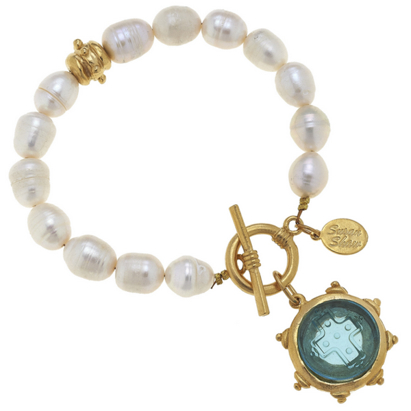 Susan Shaw Jewelry Aqua Venetian Glass Cross Intaglio on Genuine Freshwater Pearl Bracelet (2541AQ)