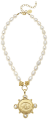 Susan Shaw Jewelry Gold Bee & Freshwater Pearls Necklace