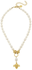 Susan Shaw Jewelry Gold Bee on Genuine Freshwater Pearl Necklace (3201BW)
