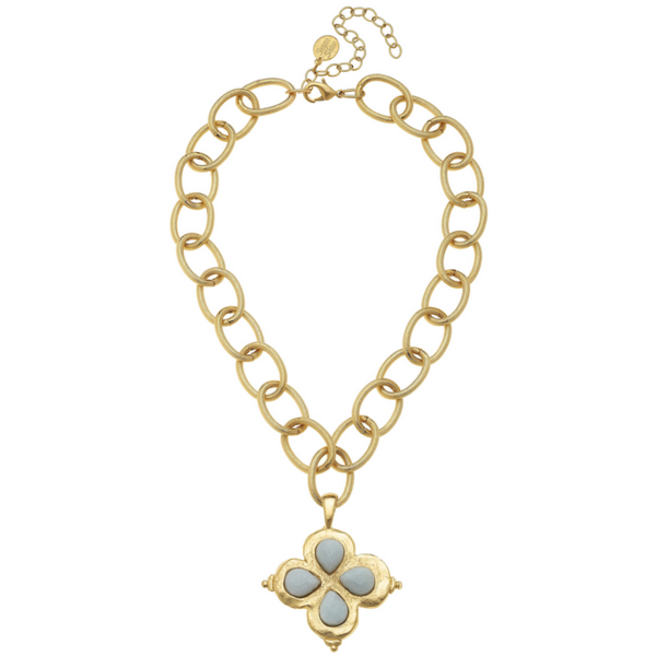 Susan Shaw Jewelry Gold Clover with Amazonite Stone Necklace (3148AM)