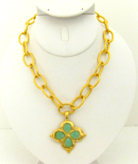 Susan Shaw Jewelry Gold Clover with Genuine Aqua Quartz Necklace (3148AQ)