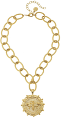 Susan Shaw Jewelry Gold Bee on Gold Chain Necklace (3135G)