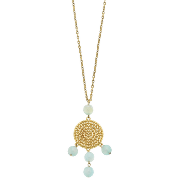 Susan Shaw Jewelry Gold Dotted Disc with Sea Foam Agate Necklace (3683SF)