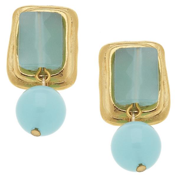 Susan Shaw Jewelry Gold Rectangle and Aqua Quartz Earrings (1225AQ)