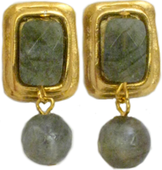 Susan Shaw Jewelry Gold Rectangle and Labradorite Earrings (1225L)