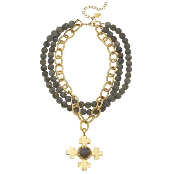 Susan Shaw Jewelry Gold Cross on Three Row Labradorite Necklace