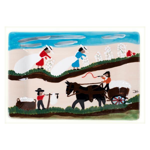 Gitter Gallery > Clementine Hunter > Pickin' And Weigin' Cotton Rectangular Platter