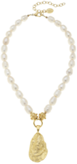 Susan Shaw Jewelry Gold Oyster Shell on Genuine Freshwater Pearl Necklace (3966W)