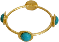 Susan Shaw Jewelry Gold with Genuine Turquoise Bangle Bracelet (2466TG)