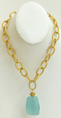 Susan Shaw Jewelry Gold Chain w/ Aqua Quartz Necklace (3860AQ)