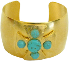 Susan Shaw Jewelry Gold Maltese Cross with Genuine Turquoise Cuff Bracelet (2130TQ)