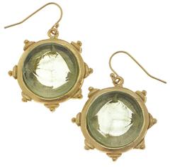 Susan Shaw Jewelry Clear Venetian Glass Horse Head Intaglio Earrings (1556C)