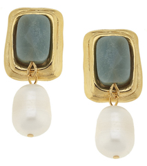 Susan Shaw Jewelry Gold & Amazonite Rectangle with Genuine Freshwater Pearl Earrings