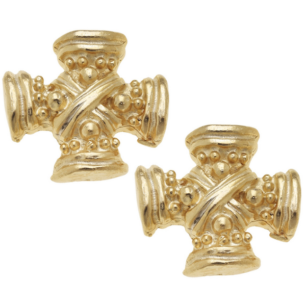 Susan Shaw Jewelry Gold Vintage Square French Cross Earrings (1776G)
