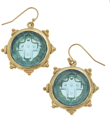 Susan Shaw Jewelry Aqua Venetian Glass Cross Intaglio Earrings (1541AQ)