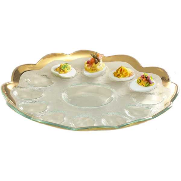 Annieglass Roman Antique Deviled Egg Platter (G216)