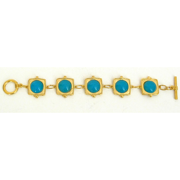 Susan Shaw Jewelry Turquoise Quartz on Handcast Gold Bracelet (2862TQ)
