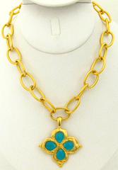 Susan Shaw Jewelry Gold Clover with Genuine Turquoise Quartz Necklace (3148TQ)