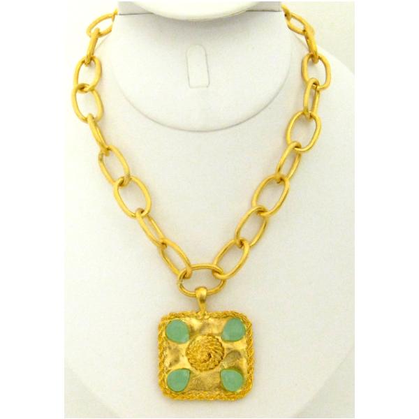 Susan Shaw Jewelry Gold Rectangle with Genuine Aqua Quartz Necklace (3149AQ)