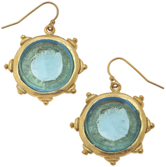 Susan Shaw Jewelry Aqua Venetian Glass Coin Intaglio Earrings (1582AQ)