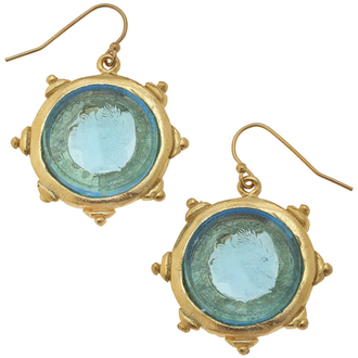 Susan Shaw Jewelry Aqua Venetian Glass Coin Intaglio Earrings (1582AQ)