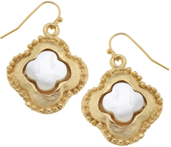 Susan Shaw Jewelry Gold Clover with Genuine Mother of Pearl Earrings (1792W)