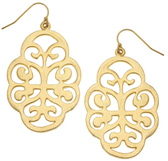 Susan Shaw Jewelry Gold Filigree Cut Out Earrings (1251G)