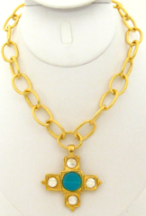 Susan Shaw Jewelry Gold Cross with Genuine Mother of Pearl & Aqua Quartz Stone Necklace (3233TQ)