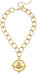 Susan Shaw Jewelry Gold Bee Pendant on Loop Chain Necklace (3003BG)